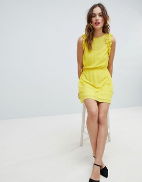 photo Frill Sleeve Mini Dress by Sisley, color Yellow - Image 4