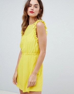 photo Frill Sleeve Mini Dress by Sisley, color Yellow - Image 1