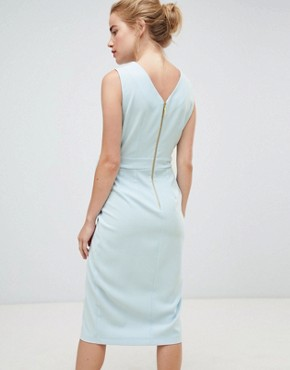 photo Tie V-Back Pencil Dress in Sky Blue by Closet London, color Sky Blue - Image 2