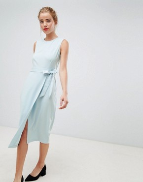 photo Tie V-Back Pencil Dress in Sky Blue by Closet London, color Sky Blue - Image 1