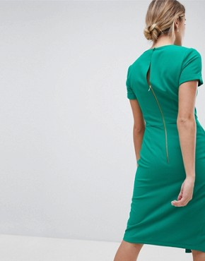 photo Short Sleeve Wrap Over Detail Dress by Closet London, color Green - Image 2