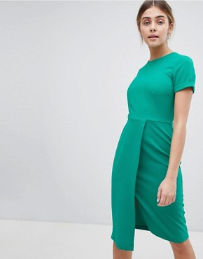 photo Short Sleeve Wrap Over Detail Dress by Closet London, color Green - Image 1