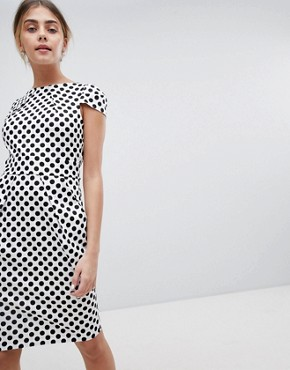 photo Tie Back Short Sleeve Dress in Polka by Closet London, color Multi - Image 1