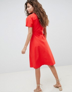 photo Button Through Midi Casual Skater Dress by ASOS DESIGN, color Red - Image 2