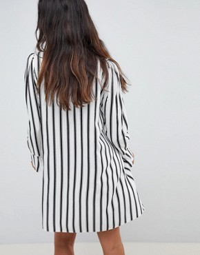 photo Stripe Long Sleeve Shirt Dress by ASOS DESIGN, color Multi - Image 2
