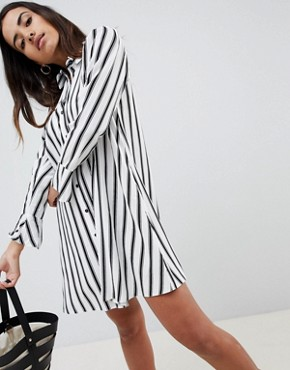 photo Stripe Long Sleeve Shirt Dress by ASOS DESIGN, color Multi - Image 1