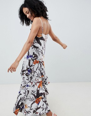photo Floral Midi Dress with Asymmetric Ruffle Hem by Gestuz, color Grey Flower Print - Image 2