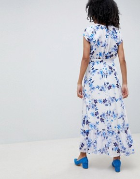 photo Floral Maxi Dress with Frill Shoulder by Gestuz, color White Flower - Image 2