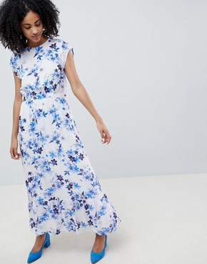 photo Floral Maxi Dress with Frill Shoulder by Gestuz, color White Flower - Image 1
