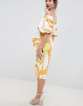 photo Bardot Puff Sleeve Midi Dress by True Violet Maternity, color Oversized Floral - Image 2