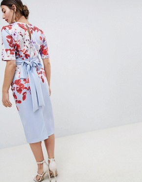 photo Floral Print Midi Dress with Bow Back by True Violet Maternity, color Blue/Red - Image 2
