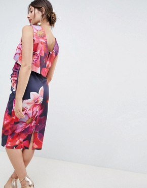 photo Overlay Midi Dress in Floral Print by True Violet Maternity, color Navy/Pink Floral - Image 2