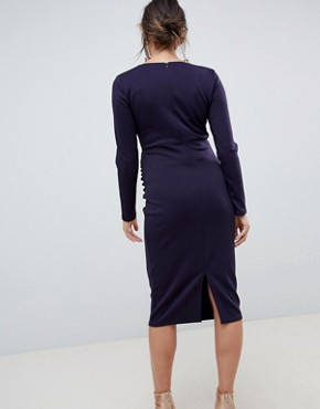 photo Wrap Front Long Sleeve Midi Dress in Navy by True Violet Maternity, color Navy - Image 2