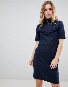 photo Zip High Neck Dress by Ichi, color Total Eclipse - Image 1