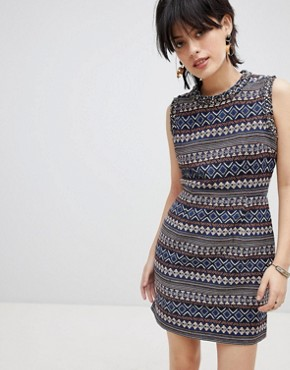 photo Iliana Print Dress with Embellished Neck Trim by Deby Debo, color Multi - Image 1