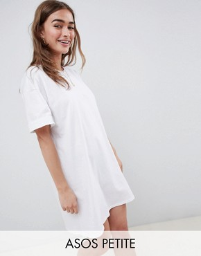 photo Ultimate t-shirt Dress with Rolled Sleeves by ASOS DESIGN Petite, color White - Image 1