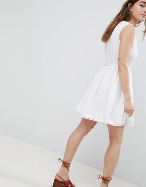 photo Mini Wrap Sundress with Embroidered Trims by ASOS DESIGN Petite, color White - Image 2