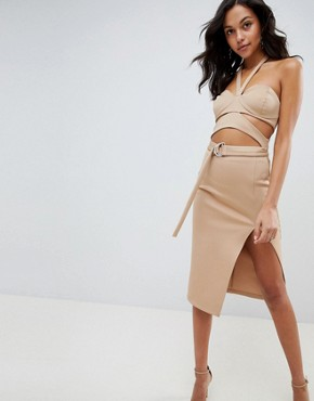 photo Cut Out Bust Cup Halter Midi Dress by ASOS DESIGN, color Beige - Image 1