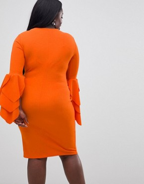 photo Sleeve Detail Scuba Bodycon Dress by Club L Plus, color Red Orange - Image 2
