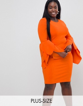 photo Sleeve Detail Scuba Bodycon Dress by Club L Plus, color Red Orange - Image 1