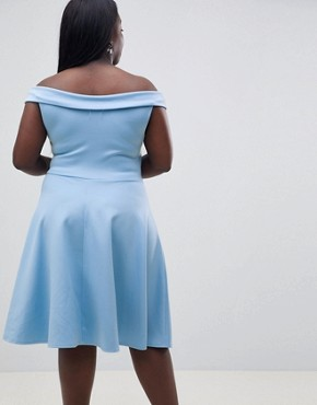 photo Bardot Prom Skater Dress by Club L Plus, color Halogen Blue - Image 2