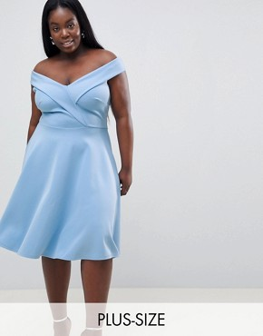 photo Bardot Prom Skater Dress by Club L Plus, color Halogen Blue - Image 1