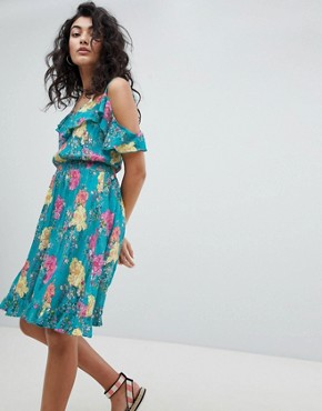 photo Waterfall Floral Beach Dress by Floozie by Frost French, color Blue - Image 1