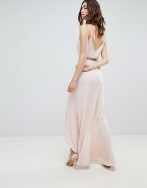 photo Cami Maxi Dress with Ruffle Side Split and Gold Belt by ASOS DESIGN Tall, color Nude - Image 2