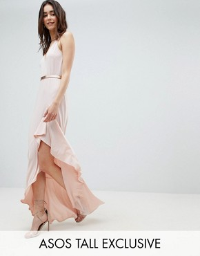 photo Cami Maxi Dress with Ruffle Side Split and Gold Belt by ASOS DESIGN Tall, color Nude - Image 1