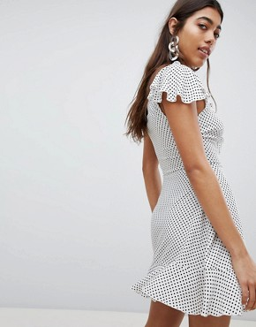 photo Wrap Front Polka Dot Tea Dress by Missguided, color White - Image 2