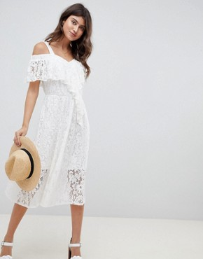photo Lace Midi Sundress by ASOS DESIGN, color White - Image 1