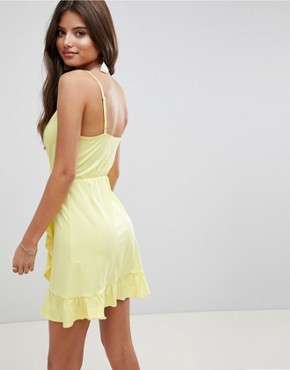 photo Wrap Mini Sundress with Frill Detail by ASOS DESIGN, color Yellow - Image 2
