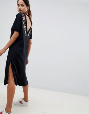 photo Embroidered V-Back Midi t-shirt Dress by ASOS DESIGN, color Black - Image 1
