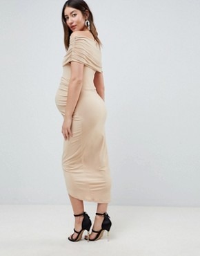 photo Maternity Kimmi Slinky Ruched Bardot Midi Dress by ASOS DESIGN, color Nude - Image 2