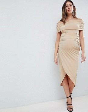 photo Maternity Kimmi Slinky Ruched Bardot Midi Dress by ASOS DESIGN, color Nude - Image 1