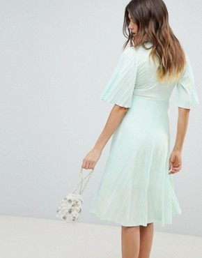 photo Maternity Kimono Pleated Midi Dress by ASOS DESIGN, color Mint - Image 2