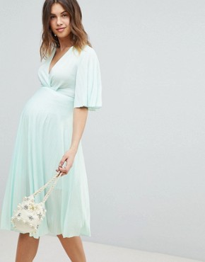 photo Maternity Kimono Pleated Midi Dress by ASOS DESIGN, color Mint - Image 1