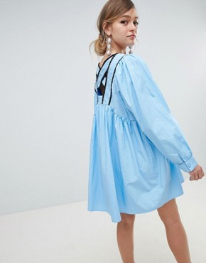 photo Babydoll Dress with Button Front and Cross Back Detail by Sister Jane, color Blue - Image 2