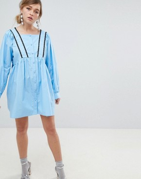 photo Babydoll Dress with Button Front and Cross Back Detail by Sister Jane, color Blue - Image 1