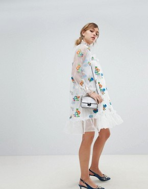 photo Organza Smock Dress with Gathered Cuffs and Floral Embroidery by Sister Jane, color White Multi - Image 4