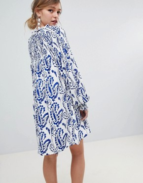 photo Shift Dress with Balloon Sleeves in All Over Paisley Print by Sister Jane, color White Multi - Image 2