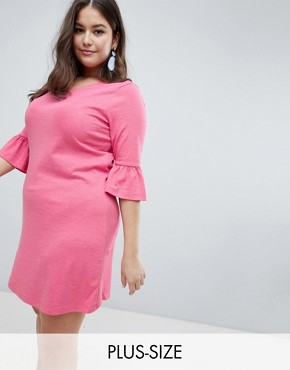 photo Ruffle Sleeve Swing Dress by Junarose, color Pink - Image 1