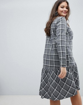 photo Check Drop Waist Dress by Junarose, color Grey Check - Image 2