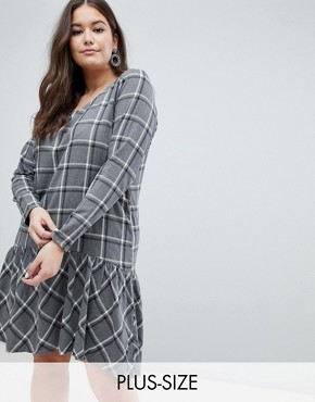 photo Check Drop Waist Dress by Junarose, color Grey Check - Image 1
