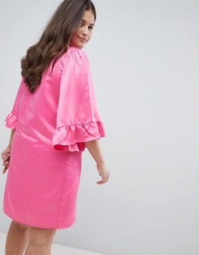 photo Ruffle Sleeve Shift Dress by Junarose, color Pink - Image 2
