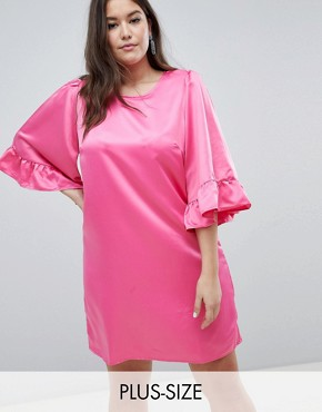 photo Ruffle Sleeve Shift Dress by Junarose, color Pink - Image 1