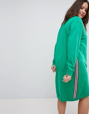photo Midi Sweat Dress with Side Stripe by ASOS DESIGN Curve, color Green - Image 2