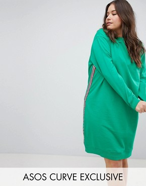 photo Midi Sweat Dress with Side Stripe by ASOS DESIGN Curve, color Green - Image 1