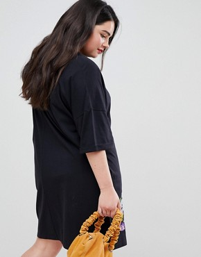photo Embroidered t-shirt Dress by ASOS DESIGN Curve, color Black - Image 2