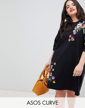 photo Embroidered t-shirt Dress by ASOS DESIGN Curve, color Black - Image 1